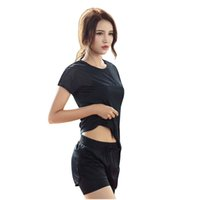 Wholesale gauze yoga pants - 2017 New summer Yoga sport suit breathable gauze stitching comfortable quick dry running fitness short pants and shirt