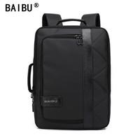 Wholesale Man Travel Satchel - BAIBU 2018 NEW Men Backpack Waterproof Letters Big USB Charging School Bags For Teenagers Student Travel Laptop Backpack