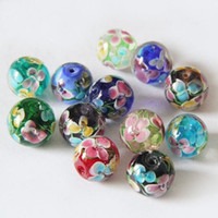 blue glass beads flowers 2018 - New Beautiful 14mm Plum Flower Inside Glass Round Beads DIY Loose Spacer Beads Jewelry Free Shipping