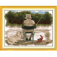 Wholesale Chinese Cross Stitch Kits - The Fishing Canvas DMC 11ct 14ct Counted Chinese Cross Stitch Kits printed Cross-stitch for Embroidery Home Decor Needlework