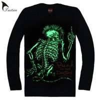 Wholesale Fluorescent T Shirts - TASTIEN New Skull T shirts Men Luminous Tees High Quality Shining t-shirts Fluorescent Personalized Night Cool Clothing Big Size