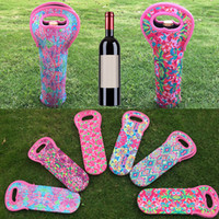 Wholesale wholesale wine totes - Festive Party Wine Bag Diving Material Wine Holder Tote Carrier Ball Pattern Bottle Holder Cooler Bag Birthday Christmas Supplies WX9-758