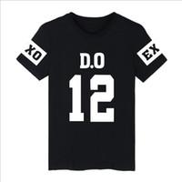 Wholesale Exo Shorts - KPOP EXO T-Shirt Women T Shirt Short Sleeve T-Shirts O-Neck Tops Korean Fashion Letter Printed Hip Hop Cotton Tee Shirt Femme