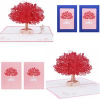 pop up tree card al por mayor-Tarjetas de felicitación de sakura hechas a mano elegante postal de pop-up 3D romántica de sakura Postales de árbol Invitaciones de boda para los amantes GGA1181