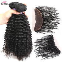 Wholesale human hair online - Brazilian Peruvian Malaysian Indian Virgin hair kinky curly Bundles with x4 lace frontal closure A Grade Human Hair extensions