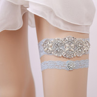 Wholesale Blue Wedding Garter Belt - Blue Bridal Garters Crystals Pearls for Bride Lace Wedding Garters Belt Free Size From 15 to 23 inches Wedding Leg Garters Real Picture