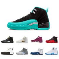 siyah beyaz yün toptan satış-2018 Yeni 12 12 s erkekler Basketbol ayakkabı beyaz ana Siyah Naylon gribi oyunu taksi playoffs kurt gri yün spor ayakkabı sneaker