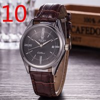 Wholesale Watch Logo Calendar - RLEX LOGO brand watch Classic leather watches men luxury brand fashion watch quartz clocks Masculino Wristwatches Relogio