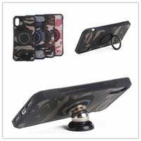 Wholesale Tpu Camouflage Iphone Cases - Army Camouflage With Ring Case Hybird Armor Shockproof Cover For iPhone 6 7 8 Plus X Galaxy S7 Edge Note8 S8 Plus J7