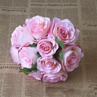 Wholesale rose lily flower bouquet - 2018 Cheap Mix Artificial Rose Flower Wedding Bridal Bouquet High Level Country Flower Free Shiping Hot Sale