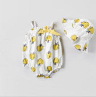 Wholesale apple hats wholesale - Ins NEW Summer infant Kids Cotton Sleeveless round collar apple print Romper + hat 100% cotton baby Climb summer romper 2 pieces sets