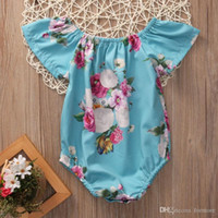 Wholesale Toddler Girls Bubble Romper - 2017 Baby Girl Romper Infant Summer Ruffled Newborn Jumpsuit Ruffles Sleeve Clothes Bubble Toddler Produce Girls babies Rompers Roupas