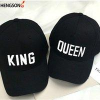 kraliçe satışları toptan satış-Yeni 2018 Sıcak Satış KRAL KRALIÇE Kapaklar Hip Hop Beyzbol Kapaklar tuval mektubu baskı şapka severler snapback güneş şapka erkekler kadınlar için şapka