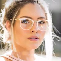 luz de leitura vermelha venda por atacado-Óculos de Leitura Retro Famoso Designer de Marca Red Frame Mulheres de Metal De Vidro Claro + Acetato Quadro Óculos De Sol Ultra-leve