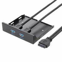 ingrosso pannello frontale floppy-1 pz Floppy Disk USB 3.0 20 Pin 2 Porte Front Panel Bay Hub Bracket Cable promozione
