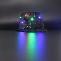 Wholesale rave halloween costumes - Cowboy hat LED toys black Sequin luminous flash colorful Jazz rave party birthday halloween lighted costumes toy party hats