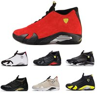 Wholesale black varsity - Hot 2018 cheap shoes 14s trainers basketball shoes last shot black toe thunder gs red suede Varsity Red Sport sneaker shoes 8-12