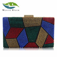 Wholesale hot fix designs - Mystic River New Design Women Evening Bags Two Side Crystal Party Bag Hot-fix Clutches Charmeuse Purses Female Wedding Clutch