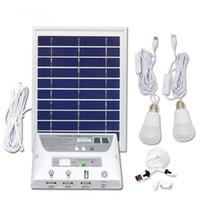 kits de casa solar venda por atacado-Kit de Iluminação do Painel Solar Solar Home DC Kit Sistema USB Carregador Solar com 2 Lâmpadas LED de Emergência Porta USB com Carregadores de Telefone Celular