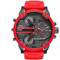 Wholesale double dial watches - Sports Mens Watches Double pointer Big Dial Display 52mm Top Brand Luxury watch Quartz Watch Steel Band 7370 Fashion Wristwatches For Men