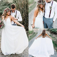Wholesale romantic simple beach wedding dresses resale online - Romantic Beach Wedding Dresses Spaghetti Neckline Lace Sleeveless Chiffon Bridal Gowns Floor Length Lace Up Wedding Dress