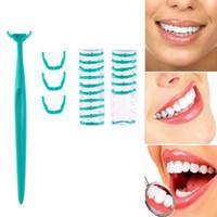 cepillo dental palillo al por mayor-Cepillo de dientes interdentales 20 unids Floss Head + 1pc Manija Oral Clean Care Picks Dental Toothpicks Cepillo de cabeza de repuesto Herramientas