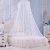 couvert de moustiquaire pour les lits achat en gros de-Blanc Élégant Rond Dentelle Moustiquaire Lit D'insecte Verrière Filet Rideau Dôme Mosquée Maison Rideau Salle Net FFA470 12pcs