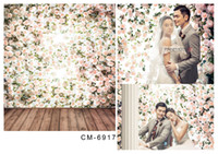 hölzerne hochzeit kulissen großhandel-8x12FT Weiße Blumen Branch Wall Hartholzboden Hochzeit Benutzerdefinierte Fotografie Backdrops Studio Hintergründe Vinyl 8x15 10x20