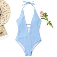 tek parça banyo uygun arkalıksız toptan satış-2018 Yaz Halter Açık Mavi Tek parça Kadın 'Mayo V Boyun Backless Bodysuit Beachwear Mayo SO0503