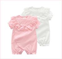 kızlar için pembe dantel şortu toptan satış-Beyaz Pembe Bebek Kız Dantel Prenses Tulum Ile Kelebek Yay Bebek Yaz Kısa Kollu Onesies Tulumlar Yürüyor bodysuit Çocuk Giysileri