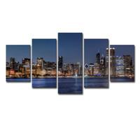fluss gemälde großhandel-Leinwand Wandkunst Bilder HD Drucke Wohnzimmer Dekor 5 Stücke Chicago River Stadtbild Gemälde Rahmen Stadt Nightscape Poster