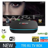 caja de transmisión t95 al por mayor-Más barato T95 R1 Quad Core Amlogic S905W Android 7.1 TV Caja árabe IPTV Streaming Media PlayeR