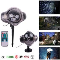 Wholesale projection christmas lights resale online - Snowfall LED Projection Lights V Remote control Christmas lights Outdoor Waterproof Lawn Snowflake Lamp for Decoration Lighting