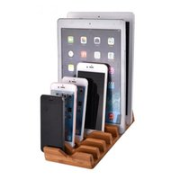 Wholesale tablet charging stand online – Desktop Organizer Bamboo Stand Charging Holder for iPhone iPad Tablet PC Mobile Phone