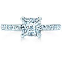 prinzessin marke schmuck großhandel-Großhandel Echte Marke Schmuck 925 Sterling Silber 1CT Princess Cut Micro Gepflasterte Engagement Synthetische Diamanten Ring 925