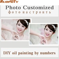 Wholesale Family Oil Paintings - Wholesale-Personality Photo Customized Your Own DIY Oil Painting By Numbers Picture Drawing Canvas Portrait Wedding Family Children Photos