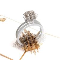 tarjetas hechas a mano para el día de la boda al por mayor-Tarjetas de regalo de felicitación hechas a mano retro Stereo 3D Ring Pop Up Invitaciones de boda ahuecadas Postal de diseño para el día de San Valentín 10ld BB