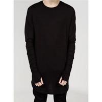 мужские городские рубашки оптовых-High Street мужская футболка расширенный футболка мужская одежда изогнутые подол длинная линия топы тис хип-хоп городской пустой рубашки