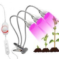dimmer par light al por mayor-15W LED Lámpara de planta 360 Ajustable Stepless Dimming LED Grow Light Lámpara de crecimiento de doble cabeza para plantas de jardín Iluminación de invernadero