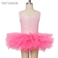 ingrosso abito rosa spandex rosa-For Sale Tutina per danza classica Tutina Perizoma Body Perizoma rosa con paillettes Spandex con tulle rosa Tutu 17045