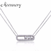 Wholesale Pure Stones - Moonmory Famous Jewelry 100% Real Pure 925 Sterling Silver Move Zircon Necklace For Women Wedding Engagement Necklace Jewelry