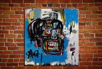 """conjunto de quarto preto vermelho venda por atacado-Jean-Michel Basquiat """"Untitled, 1982"""" de Alta Qualidade Pintado À Mão HD Impresso Arte Da Parede pintura a óleo, Decoração de casa Na Lona Multi Tamanhos Quadro g63"""