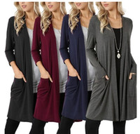 Wholesale cardigan tee for sale - Group buy 4styles Knitting Cardigan Solid Jackets Long Sleeve Sweater Autumn Open Stitch Coat Casual Thin Knits Long Cardigans simple tees FFA1017