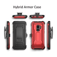 Wholesale plastic belt clips - Defender Hybrid Armor Case With Belt Clip Holder Magnet Shockproof Cover For iphone X 8 7 plus Samsung S9 S8 plus Note8 A8 2018 OPP
