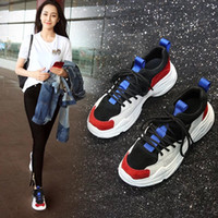 Wholesale winter boots korean - Ins Hot Sale Athletic Outdoor Shoes Super Zapatilla 2018 New Version Korean Muffin Sole Leather Women Leisure Running Shoe