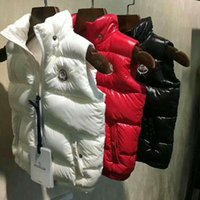 roter kapuzenmantel großhandel-M Marke Hohe Qualität Kinder Kapuze Daunenweste Daunenjacke Oberbekleidung Mantel dicke Wintersportbekleidung Schwarz / Weiß / Rot Farbe
