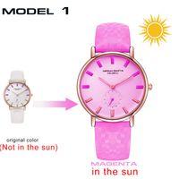 Wholesale ladies rose pink belts resale online - DHL UV Sensitive Watch Under Sunlight BS32 Rose Gold Discoloration Belt Student Trend Cool Lady Color Change Watch