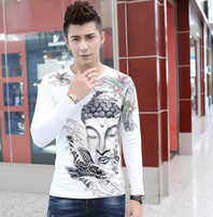 Wholesale Men S Shirt Tattoo - Man's tattoo T shirt Casual Slim Fitted Long Sleeve Ukiyoe Tattoo Art Design Cotton Buddha Pattern Print Tops Tee Shirts Punk Biker T shirts
