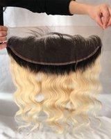 613 1b cabelo humano das raízes escuras venda por atacado-Fechamento escuro do cabelo humano da raiz da onda do corpo do frontal do laço de 13x4 1B / 613 Ombre com cabelo do bebê