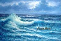 pintura a óleo da onda do oceano venda por atacado-Alta qualidade pintados à mão pintura a óleo da arte da parede do oceano pintura a óleo decoração de casa presente original Kungfu Arte